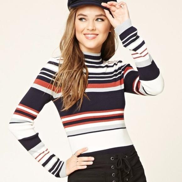 55836594e884b8 Forever 21 Sweaters - Contemporary Multicolored Striped Sweater